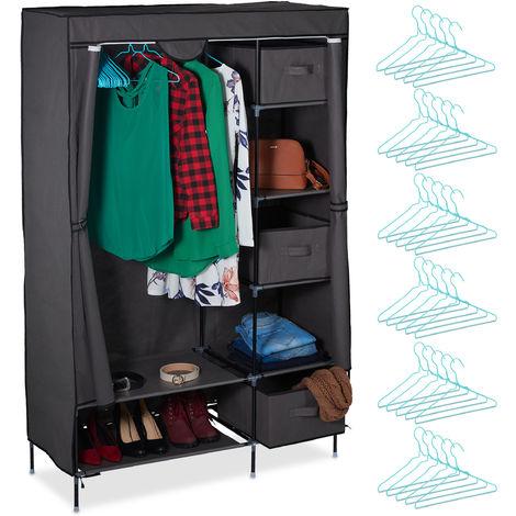 Armoire en tissu, Meuble pliant avec une tringle à vêtements & compartiments, 172,5 x 111,5 x 43,5 cm, gris