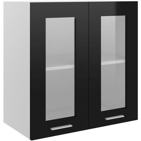 Armoire en verre suspendue Noir brillant 60x31x60 cm Aggloméré