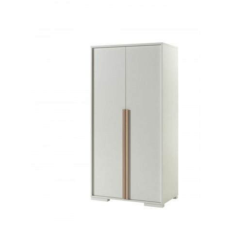 Armoire enfant contemporaine 110 cm Kentucky Blanc - Blanc/hêtre ou anthracite/hêtre