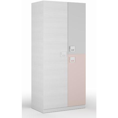 Armoire enfant en bois coloris blanc rayé et rose - Dim : L 90 x P 52 x H 200 cm -PEGANE-