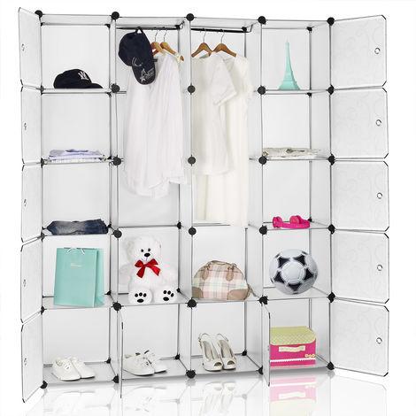 Armoire étagère modulable en plastique blanc 12 casiers Penderies Rangement