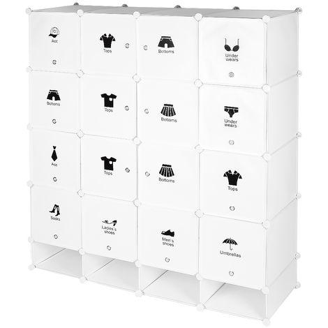 """main image of """"Armoire étagère modulable en plastique blanc casiers Penderies Rangement Armoire Penderie Placard"""""""