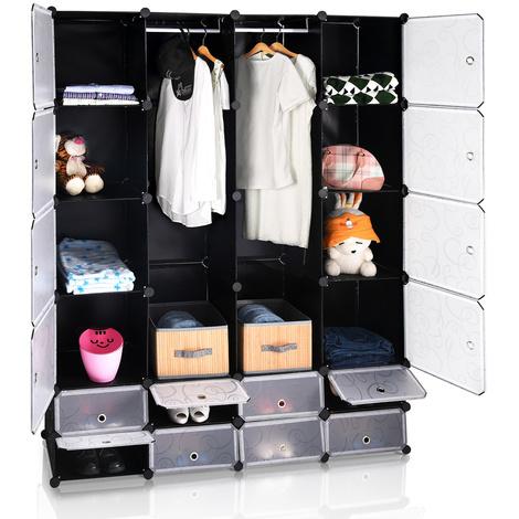 Armoire étagère modulable en plastique noir 16 casiers Penderies Rangement