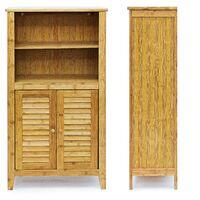 Armoire étagère petit meuble table 2 portes bambou salle de bain salon multifonction 92 cm