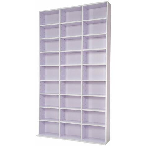 Armoire étagère rangement CD / DVD meuble de rangement pour 1 000 CDs blanc/violet - Blanc