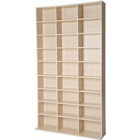 Armoire étagère rangement CD / DVD meuble de rangement pour 1 000 CDs bois - Bois