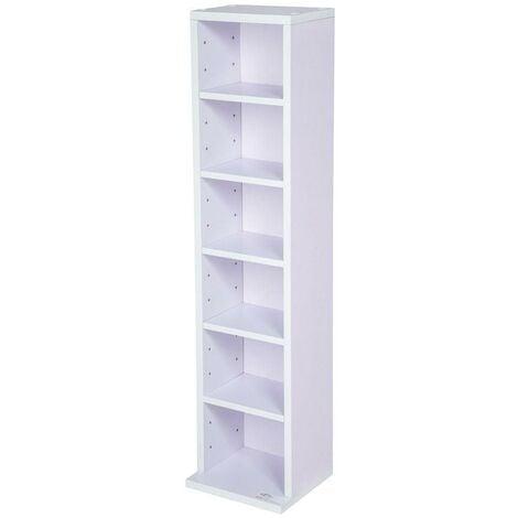 Armoire étagère rangement CD / DVD meuble de rangement pour 100 CDs blanc/violet - Blanc