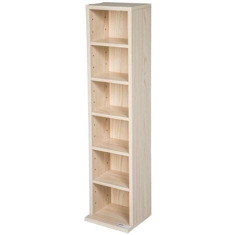 Armoire étagère rangement CD / DVD meuble de rangement pour 100 CDs bois - Bois