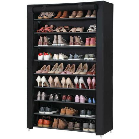 Armoire étagères à chaussures 10 couches Noir 100 x 28 x 162cm, Tubes métalliques RXJ00H