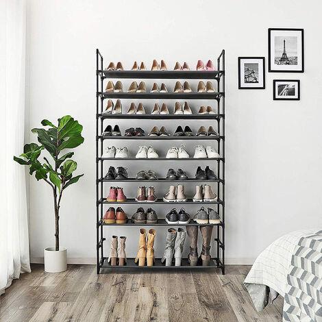 WIHHOBY Armoire étagères à chaussures 10 couches noir 100 x 29 x 175cm