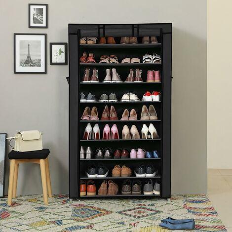 Armoire étagères à chaussures XXL 10 couches 45 paires de chaussures avec housse 88 x 28 x 160cm Gris/Noir/Brun/Crème