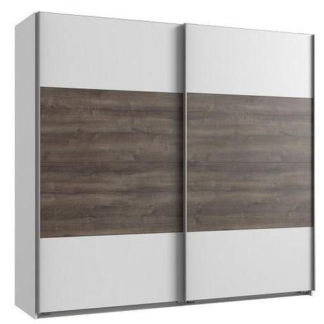 Armoire EVA portes coulissantes largeur 180 blanc / chêne châtaigne - blanc