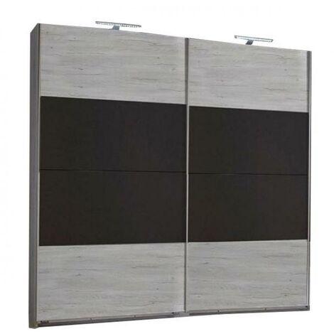 Armoire EVA portes coulissantes largeur 180 chêne blanchi / graphite - blanc