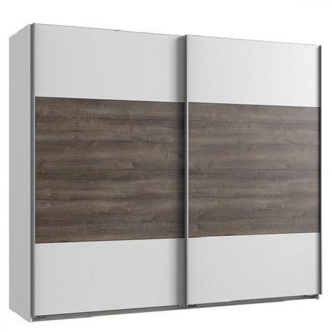 Armoire EVA portes coulissantes largeur 225 cm blanc / chêne châtaigne - blanc