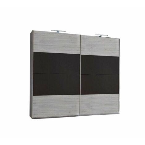 Armoire EVA portes coulissantes largeur 225 cm chêne blanchi / graphite - blanc