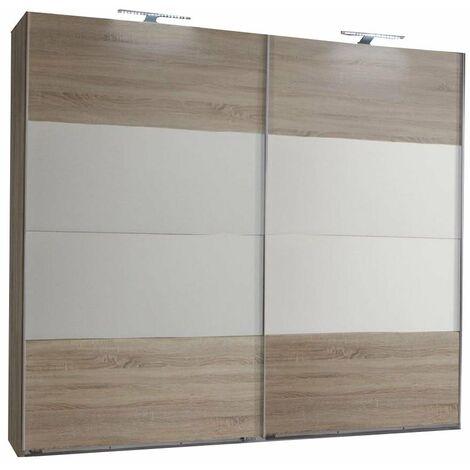 Armoire EVA portes coulissantes largeur 225 cm chêne châtaigne / blanc - marron