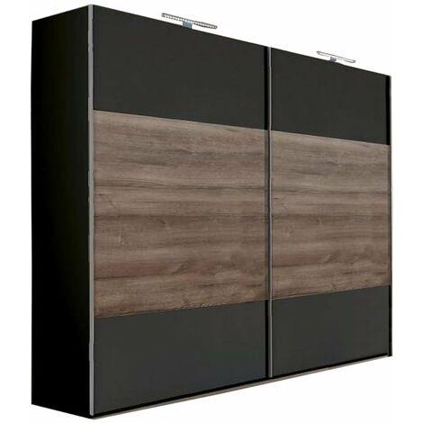 Armoire EVA portes coulissantes largeur 225 cm graphite / chêne châtaigne - noir
