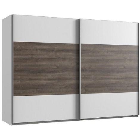 Armoire EVA portes coulissantes largeur 270 cm blanc / chêne châtaigne - blanc