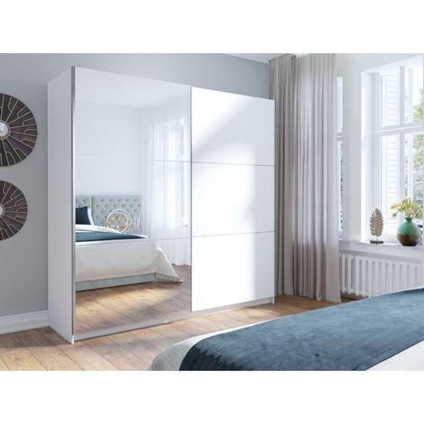 Armoire, garde robe ARSALA 200 cm deux portes coulissantes. Dressing complet avec miroir, penderie et étagères. Coloris blanc - Blanc