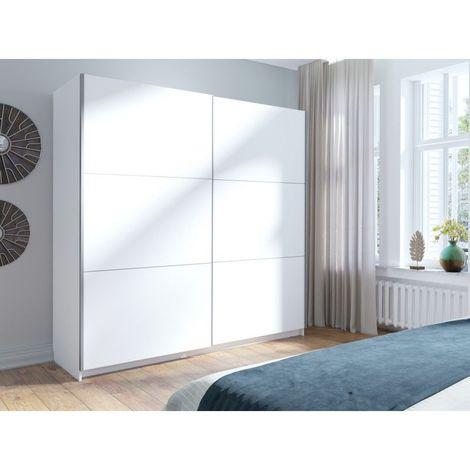 Armoire, garde robe ARSALA blanche 200 cm deux portes coulissantes. Dressing complet, penderie et étagères. Type scandinave - Blanc