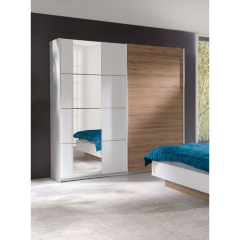 Armoire, garde robe ARTUR 200 cm deux portes coulissantes. Dressing complet avec miroir, penderie et étagères. Type scandinave - Blanc