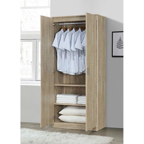 Armoire/Garde robe DALAMAN, 2 portes, contemporaine chêne Sonoma et poignées grises. - Marron
