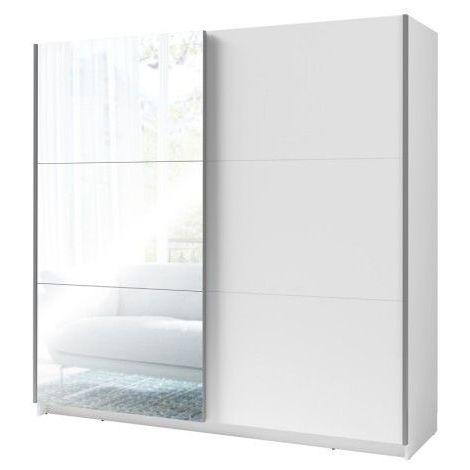 Armoire, garde robe PADWA 200 cm deux portes coulissantes. Dressing complet avec miroir, penderie et étagères. - Blanc