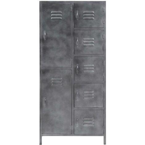 Armoire grise industrielle style casier 7 portes - Gris foncé