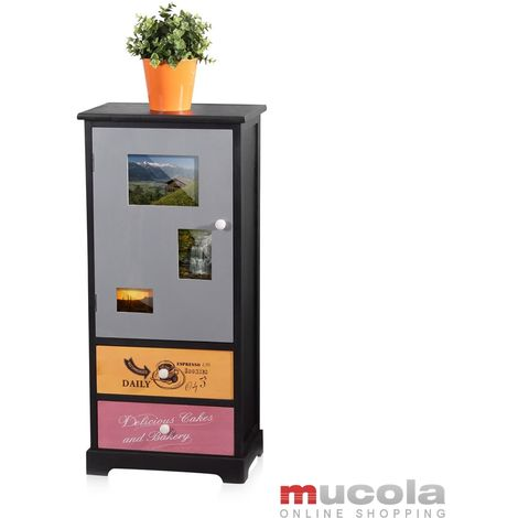 Armoire haute avec porte et tiroirs Armoires au sol Photo Bois multicolore Rangement à bois