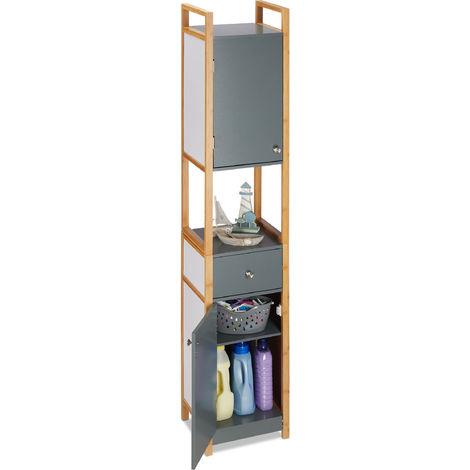 , Armoire haute de salle de bain, 2 portes, en MDF, avec un cadre en bambou, HLP 165 x 31,5 x 29 cm, gris