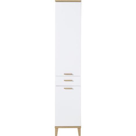 Armoire haute de salle de bain coloris blanc / chêne-Navarra repro - Dim : 39 x 201 x 34 cm -PEGANE-