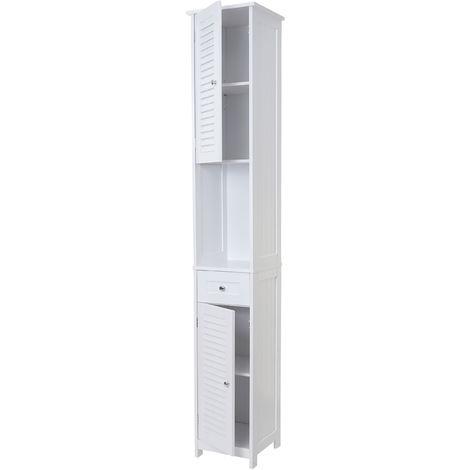 Armoire haute de salle de bains HHG-608, 196x32cm, blanc