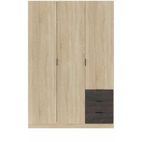 Armoire industrielle 3 portes + 3 tiroirs L121 x H180 cm - Chêne clair - Bois