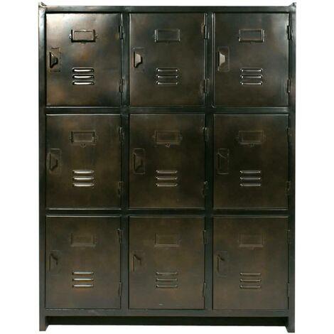 Armoire industrielle 9 casiers, marron cuivré - Brown