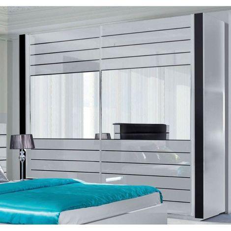 Armoire LINA blanche et noire brillante tout équipée. Meuble design pour votre chambre à coucher - Blanc