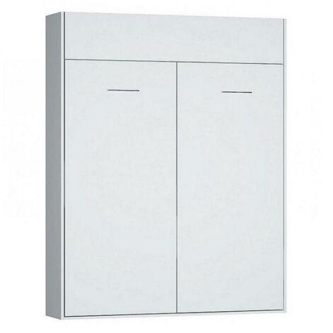 Armoire lit escamotable DYNAMO blanc mat Ouverture assistée et pied automatique, couchage 160*200 cm - blanc
