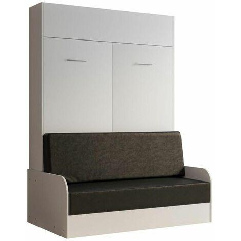 Armoire lit escamotable DYNAMO SOFA accoudoirs blanc mat canapé noir 140*200 cm - blanc