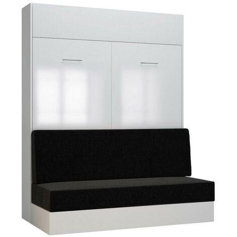 Armoire lit escamotable DYNAMO SOFA façade blanc brillant canapé anthracite 160*200 cm - blanc