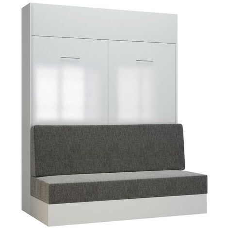 Armoire lit escamotable DYNAMO SOFA façade blanc brillant canapé gris 160*200 cm - blanc