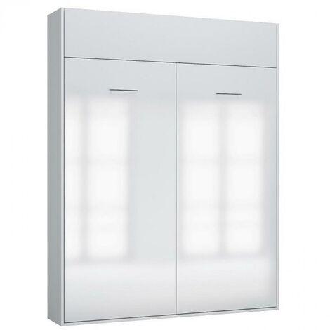 Armoire lit escamotable DYNAMO structure blanc mat façade blanc brillant 160*200 cm - blanc