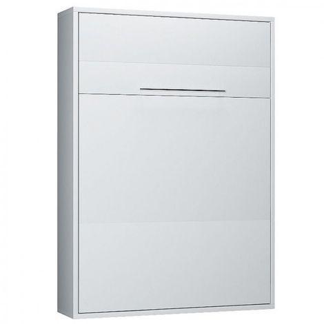 Armoire lit escamotable KOMPACT Ouverture assistée, coloris blanc mat couchage 160*200 cm. - blanc
