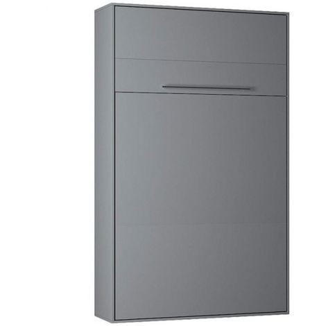 Armoire lit escamotable KOMPACT Ouverture assistée, coloris gris mat couchage 160*200 cm. - gris