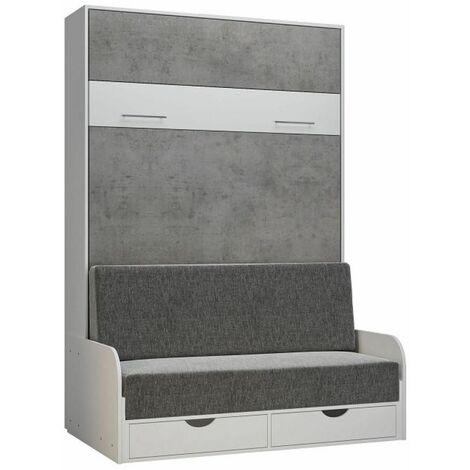 Armoire lit escamotable LOFT SOFA gris béton canapé accoudoirs blanc 140*200 cm - bi color
