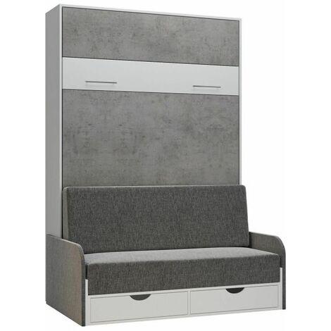 Armoire lit escamotable LOFT SOFA gris béton canapé accoudoirs tissu 140*200 cm - bi color