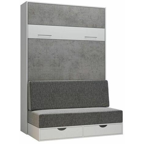 Armoire lit escamotable LOFT SOFA gris béton canapé tiroirs 140*200 cm - bi color
