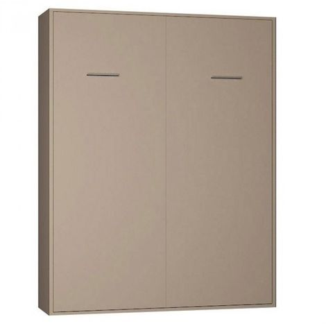 Armoire lit escamotable SMART-V2 taupe mat 160*200 cm. - taupe