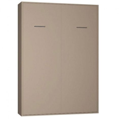 Armoire lit escamotable SMART-V2 taupe mat couchage 140*200 cm. - taupe
