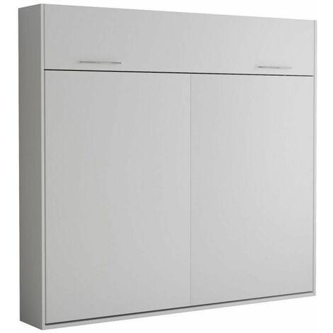 Armoire lit escamotable VERTIGO blanc mat couchage 160*200 cm - blanc