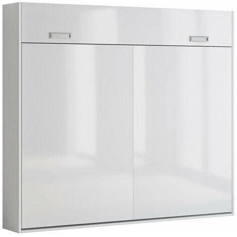 Armoire lit escamotable VERTIGO façade blanc brillant couchage 160*200 cm - blanc