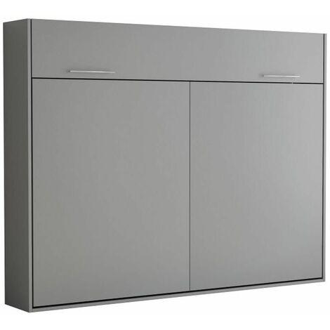 Armoire lit escamotable VERTIGO gris mat couchage 160*200 cm - gris
